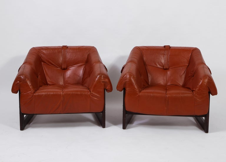Brazilian Percival Lafer Loungers Model MP-091, Cherry and Caramel Leather, Brazil, 1960s For Sale