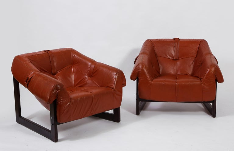Percival Lafer Loungers Model MP-091, Cherry and Caramel Leather, Brazil, 1960s In Good Condition For Sale In New York, NY