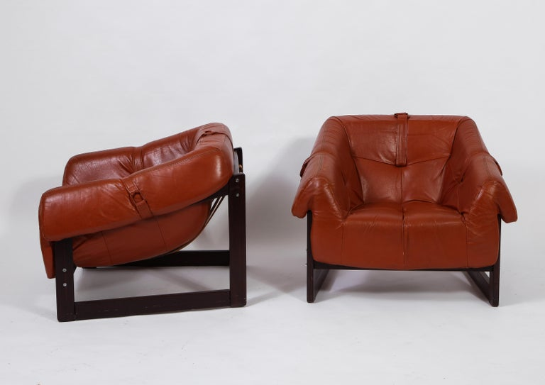 20th Century Percival Lafer Loungers Model MP-091, Cherry and Caramel Leather, Brazil, 1960s For Sale