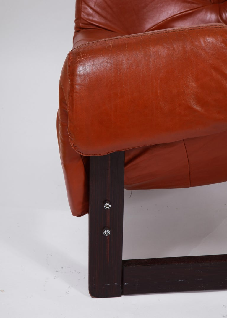 Percival Lafer Loungers Model MP-091, Cherry and Caramel Leather, Brazil, 1960s For Sale 1