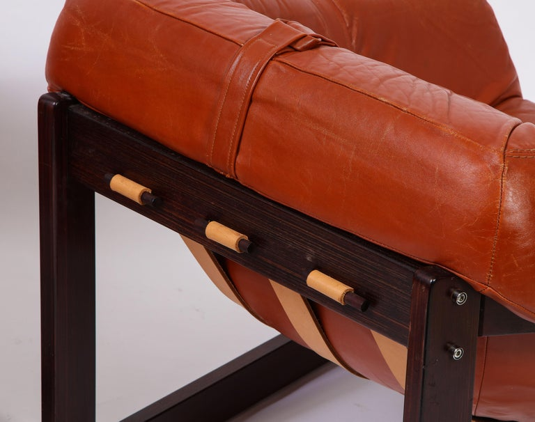 Percival Lafer Loungers Model MP-091, Cherry and Caramel Leather, Brazil, 1960s For Sale 2