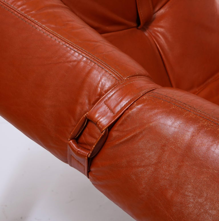 Percival Lafer Loungers Model MP-091, Cherry and Caramel Leather, Brazil, 1960s For Sale 3