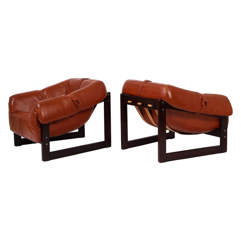 Percival Lafer Loungers Model MP-091, Cherry and Caramel Leather, Brazil, 1960s For Sale