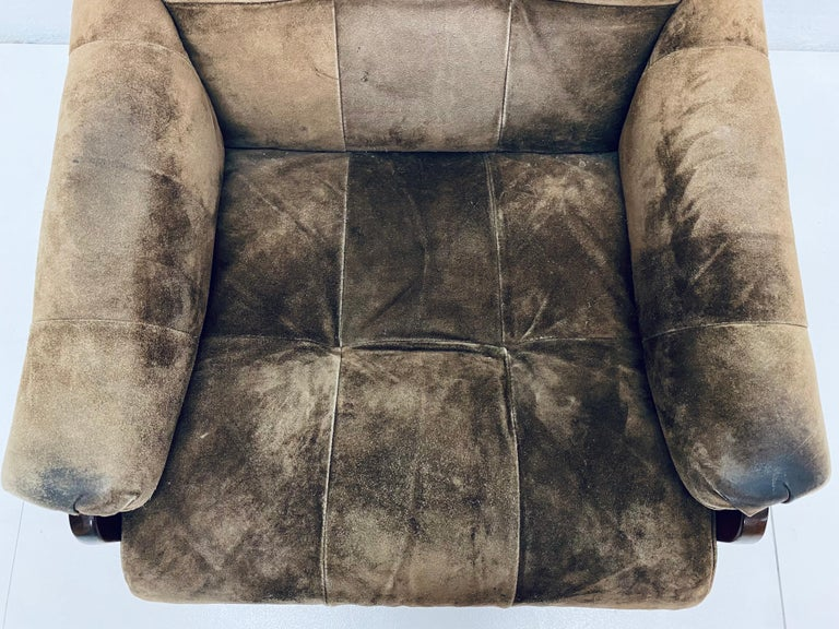 Percival Lafer Midcentury Brazilian Brown Suede and Rosewood Lounge Chair For Sale 4
