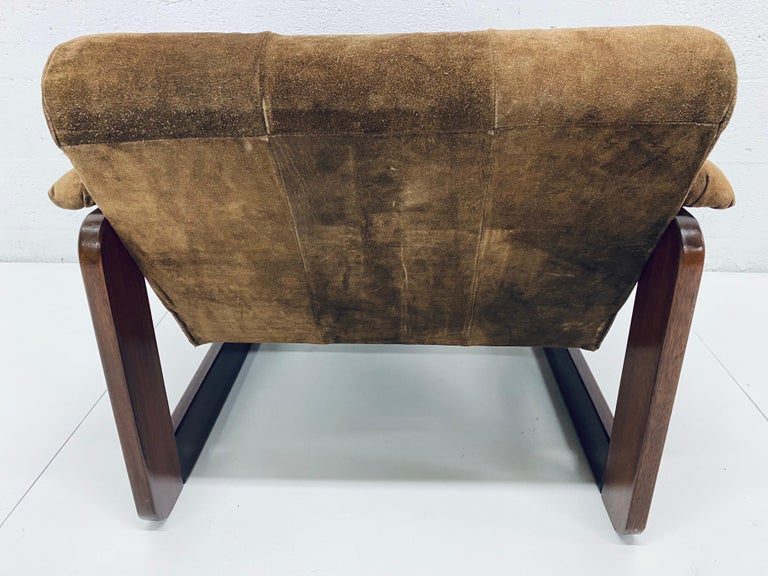 Mid-Century Modern Percival Lafer Midcentury Brazilian Brown Suede and Rosewood Lounge Chair For Sale
