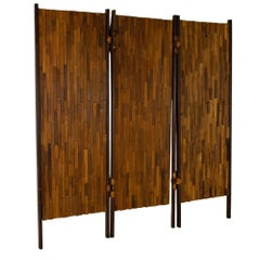 Percival Lafer Mid Century Brazilian Rosewood and Leather Room Divider
