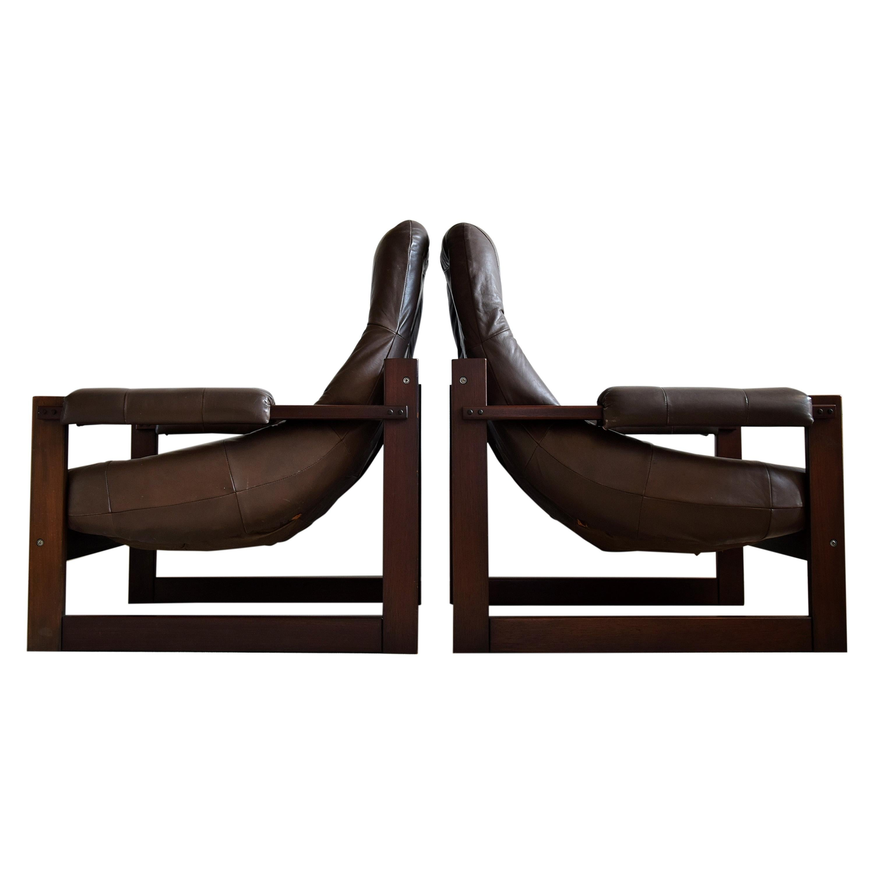 Percival Lafer Mid-Century Modern Brazilian Mahogany and Leather Lounge Chairs