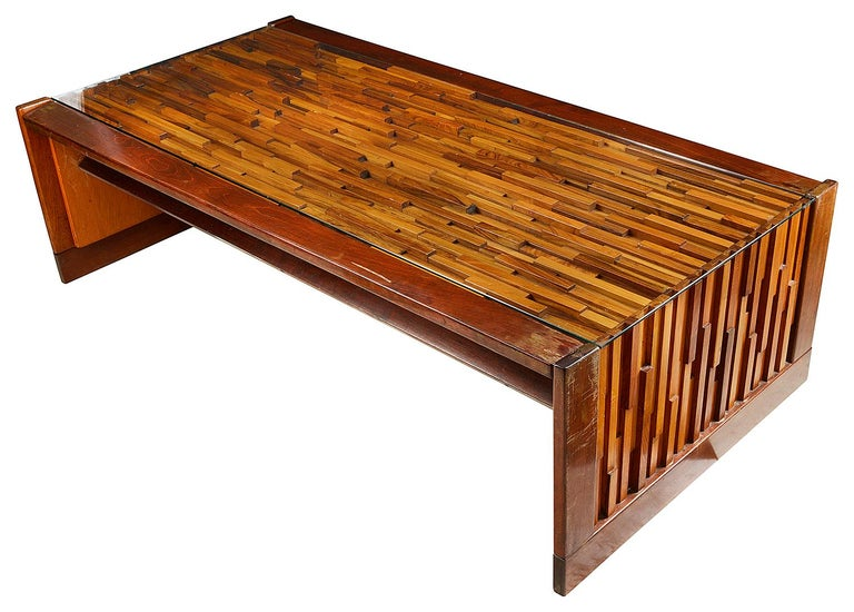 Mahogany Percival Lafer Mid-Century Modern Brutalist Style Coffee Table For Sale