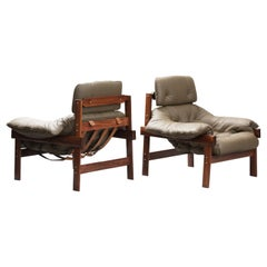 Percival Lafer Mid-Century Modern Hardwood Lounge Chairs for Lafer, Brazil 1960s
