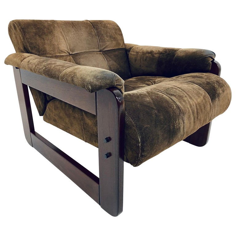 Percival Lafer Midcentury Brazilian Brown Suede and Rosewood Lounge Chair For Sale