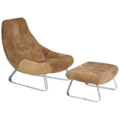 "Percival Lafer Midcentury Brazilian ""Earth Chair"" Set Armchair and Ottoman, 1976"