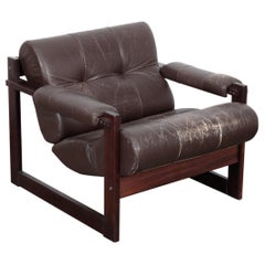 Percival Lafer Model MP-16 Lounge Chair in Original Leather