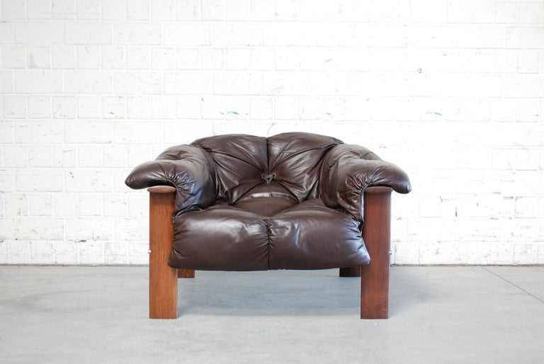 Mid-Century Modern Percival Lafer MP 129 Leather Lounge Chair Armchair For Sale