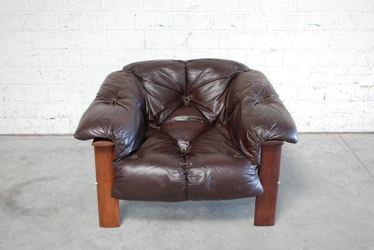 Brazilian Percival Lafer MP 129 Leather Lounge Chair Armchair For Sale