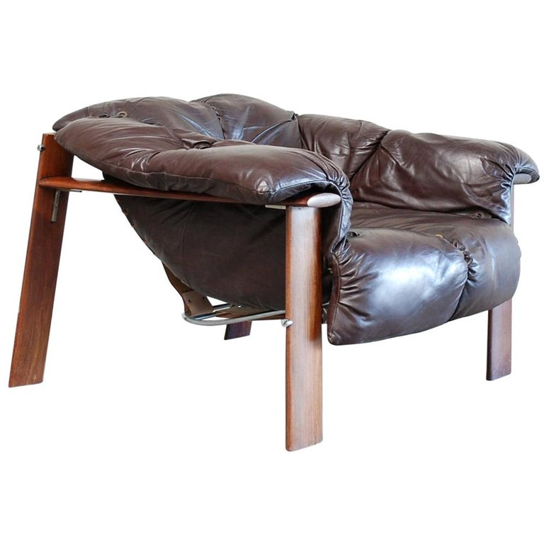 Percival Lafer MP 129 Leather Lounge Chair Armchair For Sale