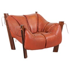 Percival Lafer MP-211 Series Brazilian Rosewood and Leather Lounge Chair