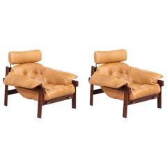Percival Lafer MP-41 Series Brazilian Leather Lounge Chairs