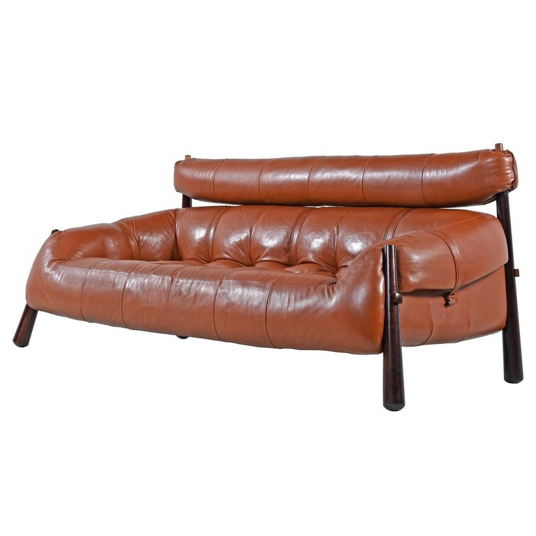 Percival Lafer Rosewood And Distressed Tufted Yellow: Percival Lafer MP-81 Brazilian Rosewood And Cognac Leather