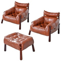Percival Lafer MP-81 Brazilian Rosewood & Leather Lounge Chairs and Ottoman Set