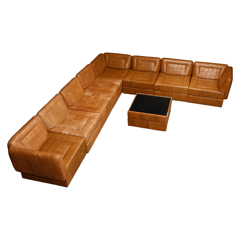 Percival Lafer Patchwork Leather Modular Living Room Set, c. 1960 Brazil, Signed