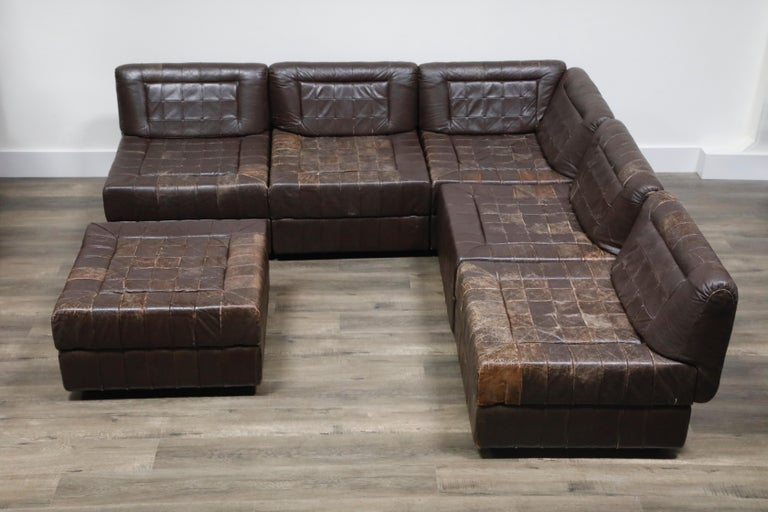 Brazilian Percival Lafer Patchwork Leather Modular Living Room Set, circa 1960, Signed For Sale
