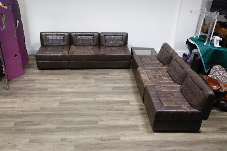 Percival Lafer Patchwork Leather Modular Living Room Set, circa 1960, Signed In Good Condition For Sale In Los Angeles, CA