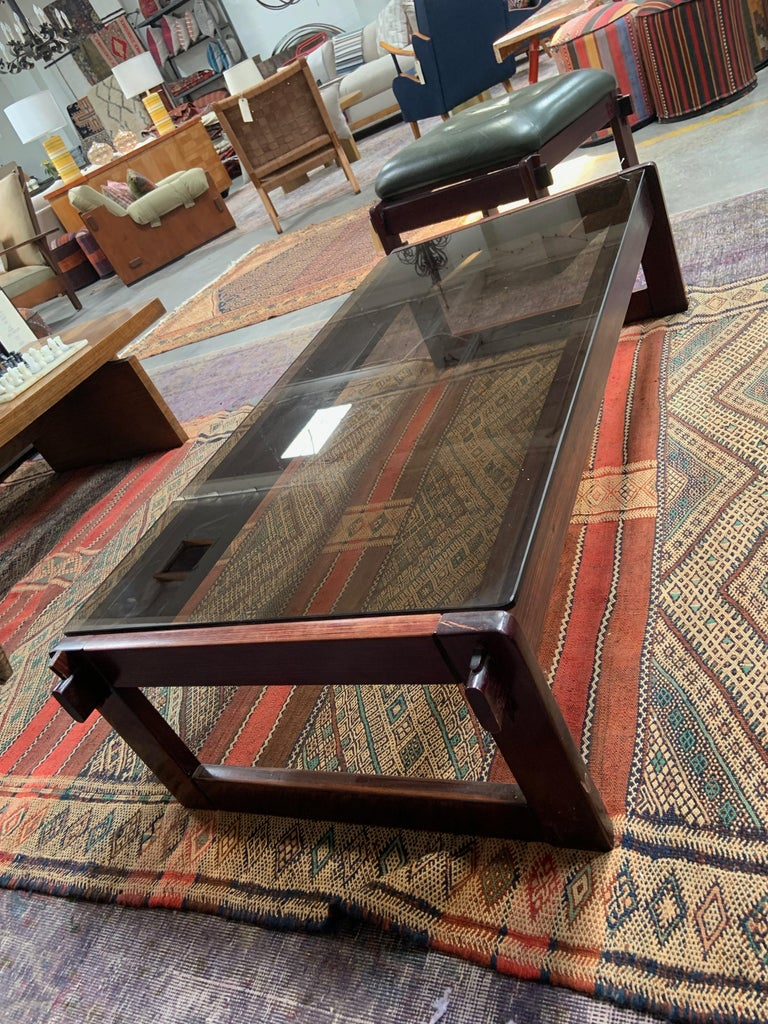 Mid-Century Modern Percival Lafer Rosewood and Glass Coffee Table For Sale