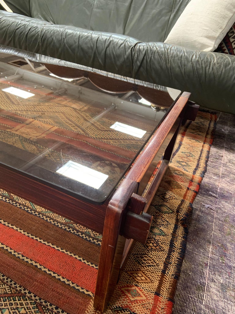 Brazilian Percival Lafer Rosewood and Glass Coffee Table For Sale