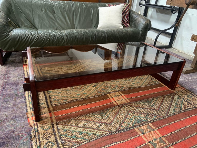 Percival Lafer Rosewood and Glass Coffee Table In Good Condition For Sale In Los Angeles, CA