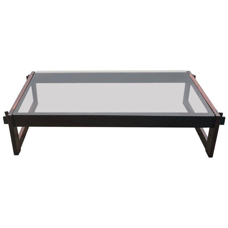 Percival Lafer Rosewood and Glass Coffee Table For Sale