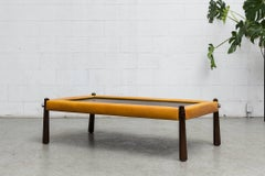 Percival Lafer Slate and Leather Coffee Table