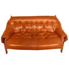 Percival Lafer Slung Leather Loveseat