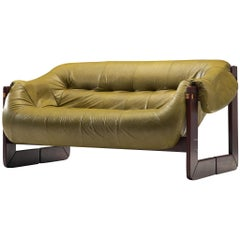 Percival Lafer Sofa in Moss Green Leather
