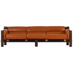 Percival Lafer Sofa in Rosewood and Leather by Lafer MP in Brazil