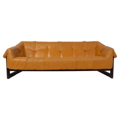 Percival Lafer Sofa MP-091 in Leather and Hardwood, Brazil, 1960s