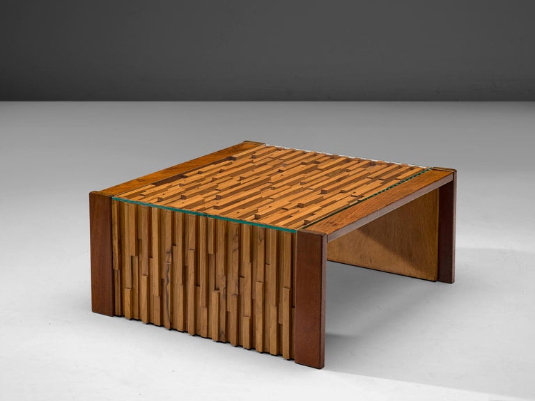 Percival Lafer Square Coffee Table in Brazilian Hardwood In Good Condition For Sale In Waalwijk, NL