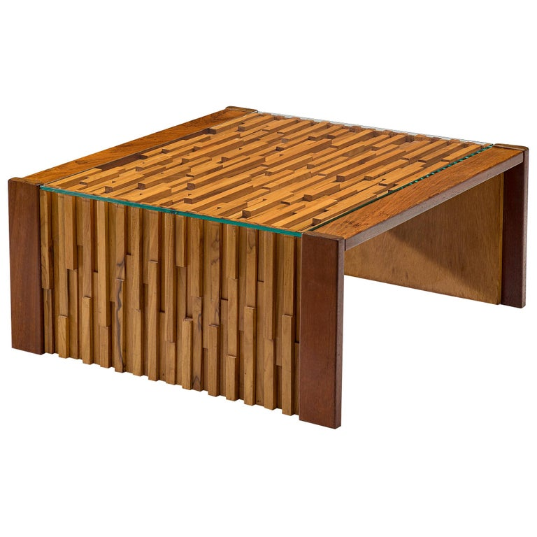 Percival Lafer Square Coffee Table in Brazilian Hardwood For Sale