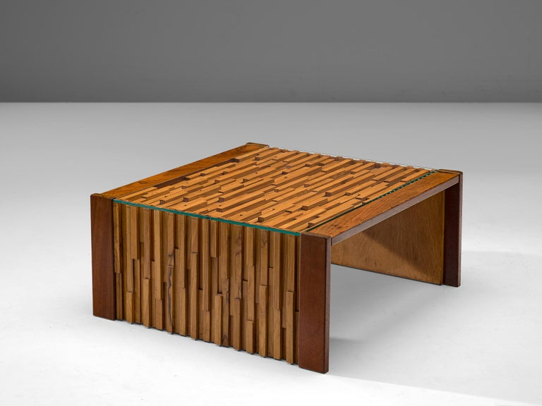 Percival Lafer, coffee table, glass, Brazilian hardwood and mahogany, Brazil, 1970s.