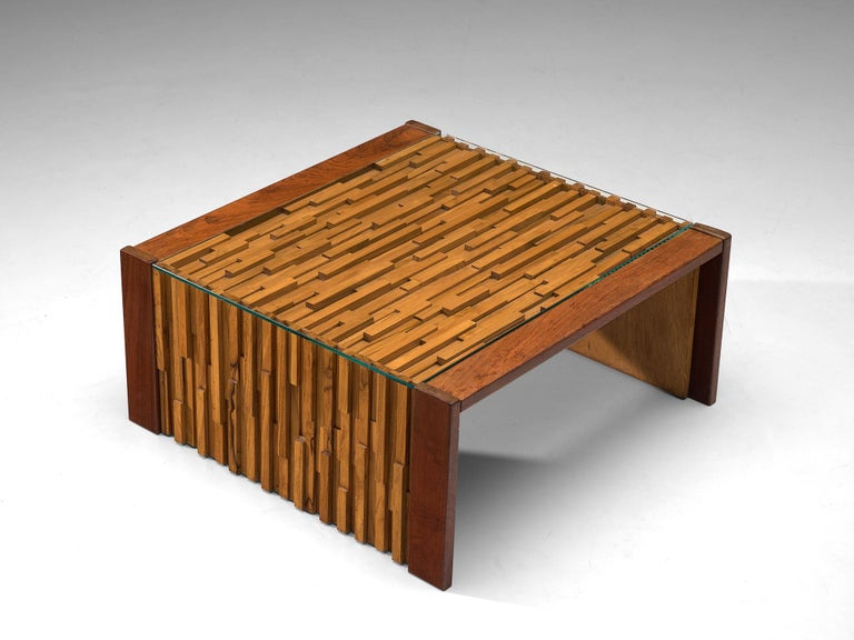 Mid-Century Modern Percival Lafer Square Coffee Table with a Mosaic of Brazilian Hardwood For Sale