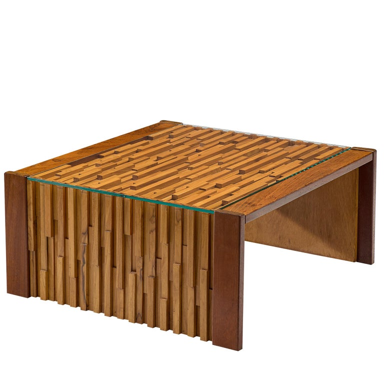 Percival Lafer Square Coffee Table with a Mosaic of Brazilian Hardwood For Sale