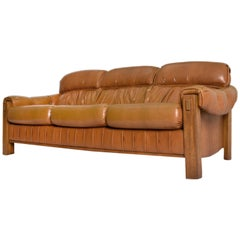 Percival Lafer Style Vintage Generously Stuffed Butterscotch and Oak Sofa Couch