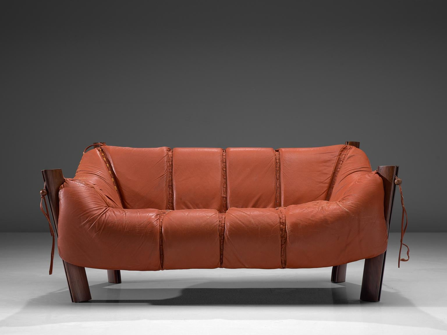 Percival Lafer Two Seat Sofa In Rosewood And Red Leather