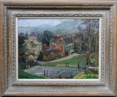 Hamme House Surrey - British 20's Impressionist oil painting landscape tennis