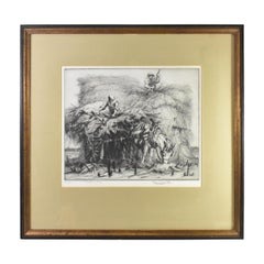 "Percy John Delf Smith Engraving / Etching ""Stacking Hay"" 3/30"
