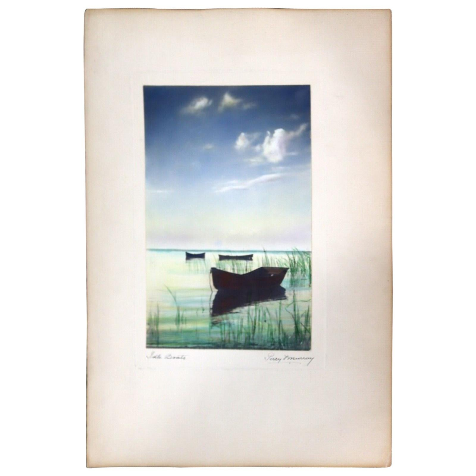 Percy Murray Lake Boats Signed Vintage Photograph