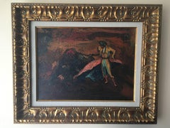 """ TORO Y TORERO"" original impressionist acrylic canvas painting"