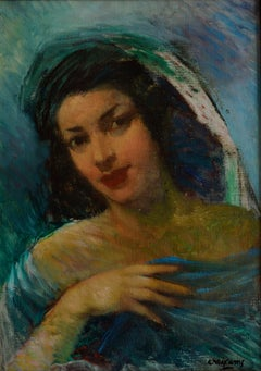 Beautiful Spanish Woman, Oil on Canvas