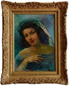 Pere Creixams Pico, Beautiful Spanish Woman, Oil on Canvas, Circa 1920