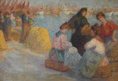 Men & Women Working at the Fishing Docks, Spain