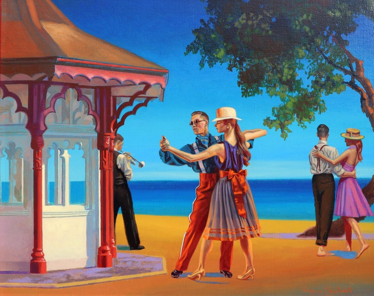 """Peregrine Heathcote Figurative Painting - """"Let the Music Play On"""""""